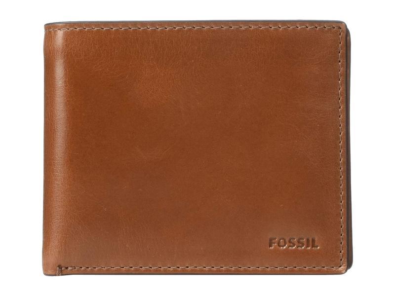 フォッシル メンズ 財布 アクセサリー Hugh Large Coin Pocket Bifold Cognac