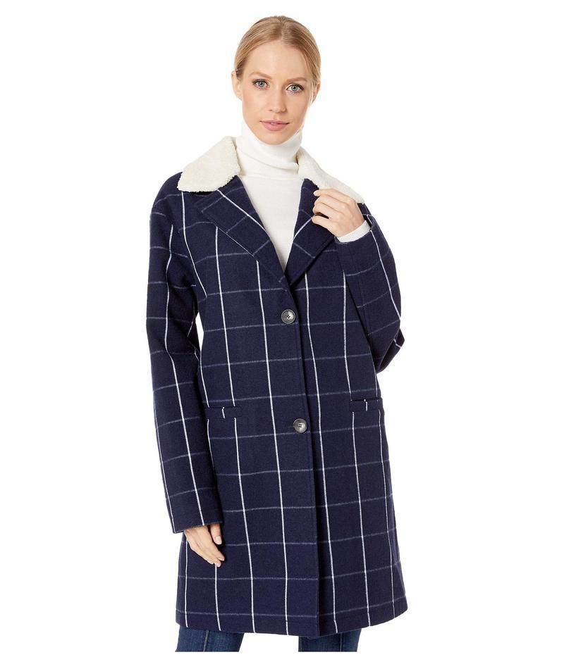 リーバイス レディース コート アウター Long Wool Blend with Sherpa Collar Navy Plaid