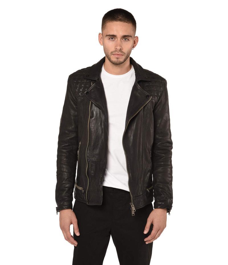 オールセインツ メンズ コート アウター Conroy Leather Biker Jacket Ink Navy