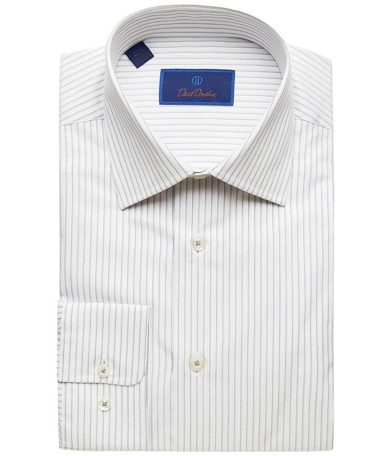 デイビッドドナヒュー メンズ シャツ トップス Regular Fit Striped Dress Shirt White/Gray