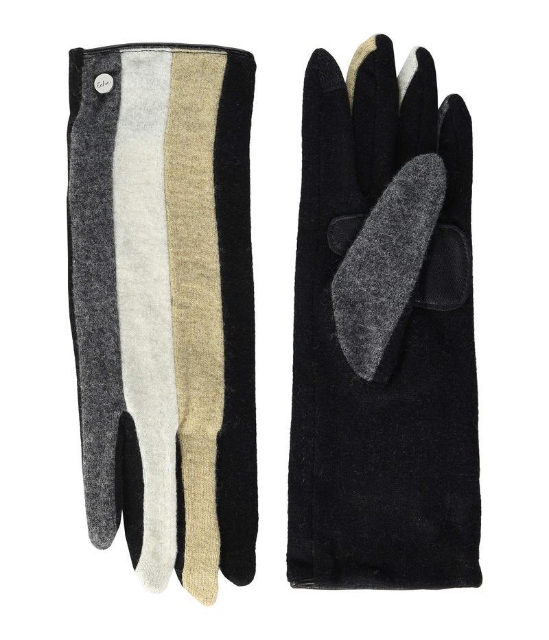エコーデザイン レディース 手袋 アクセサリー Color Block Gloves - Water Repellent Finish Black