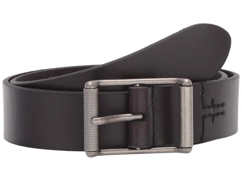 フライ メンズ ベルト アクセサリー 38 mm Leather Panel w/ Center Bar Roller Buckle Black