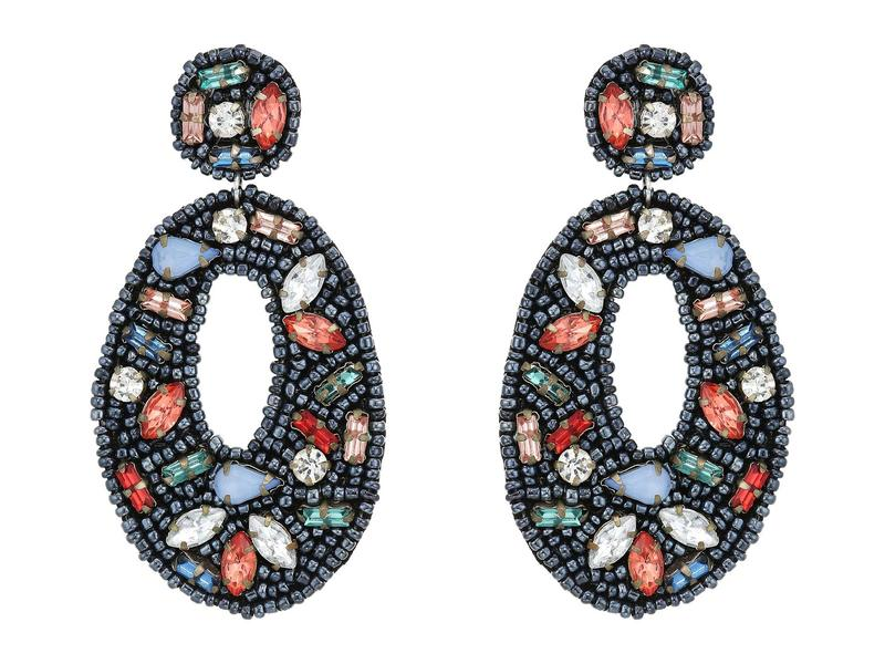 ケネスジェイレーン レディース ピアス・イヤリング アクセサリー Black Seed Bead with Multicolor Stones Oval Drop Post Earrings Black/Multi