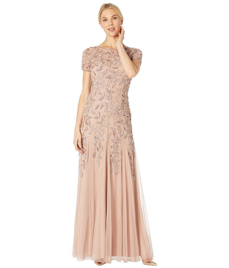 アドリアナ パペル レディース ワンピース トップス Floral Beaded Godet Evening Gown Rose Gold