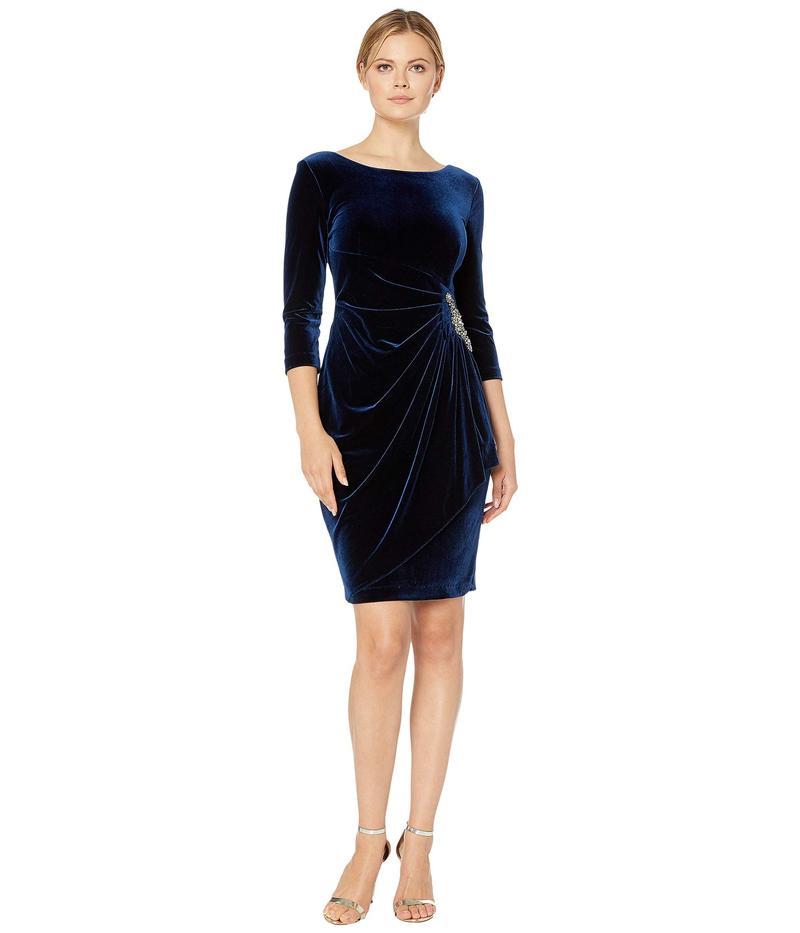 アレックスイブニングス レディース ワンピース トップス Short Velvet Dress with Beaded Hip Detail Imperial