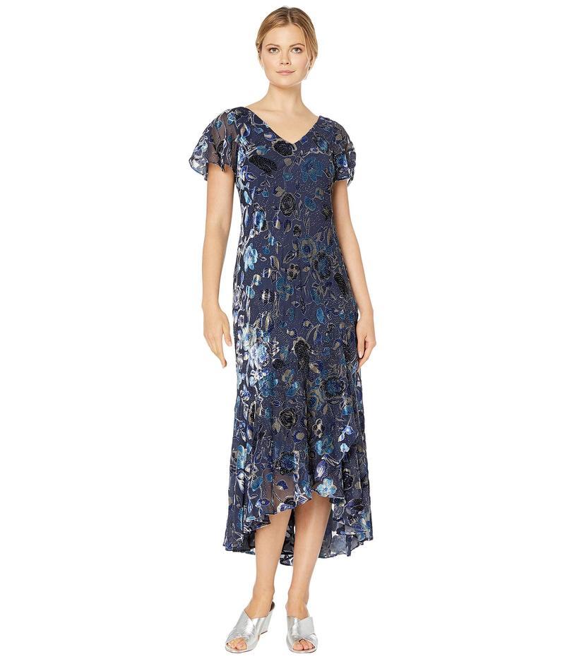 アレックスイブニングス レディース ワンピース トップス Long Velvet Burnout Dress with High-Low Hem Detail Navy/Multi