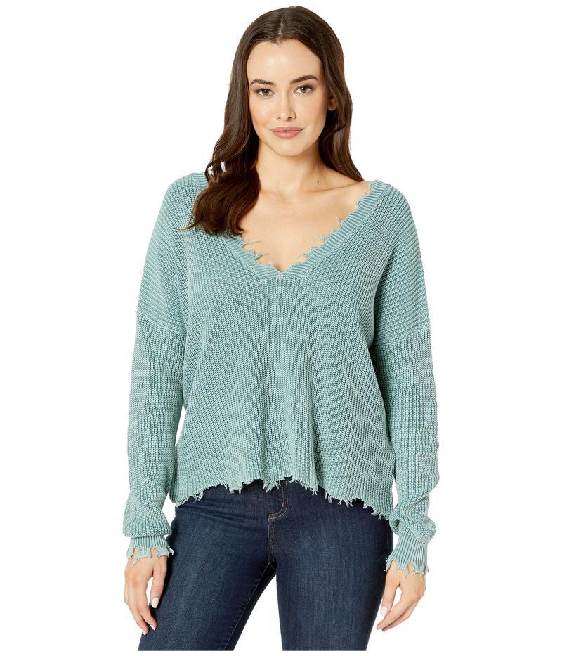 アメリカンローズ レディース ニット・セーター アウター Sydney Distressed V-Neck Sweater Powder Blue