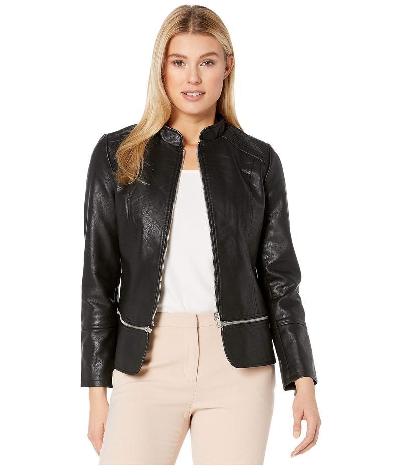 リバプール レディース コート アウター Zip Off Moto Jacket in Vegan Leather Black