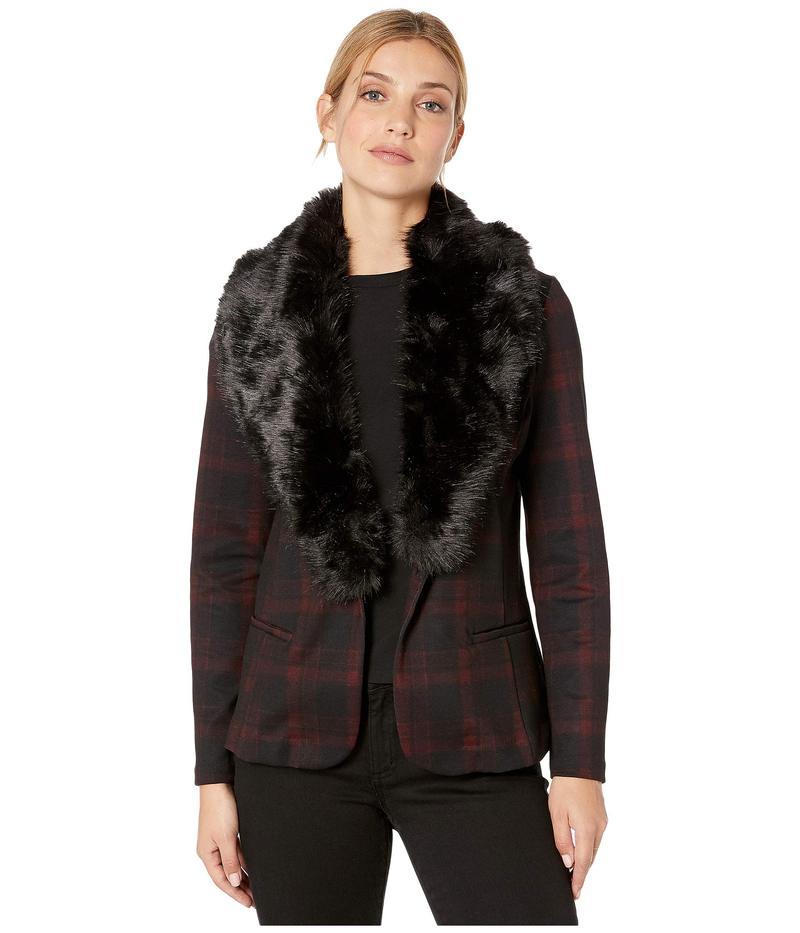 リバプール レディース コート アウター Fitted Blazer in Tartan Plaid Knit w/ Removable Faux Fur Collar Red/Black