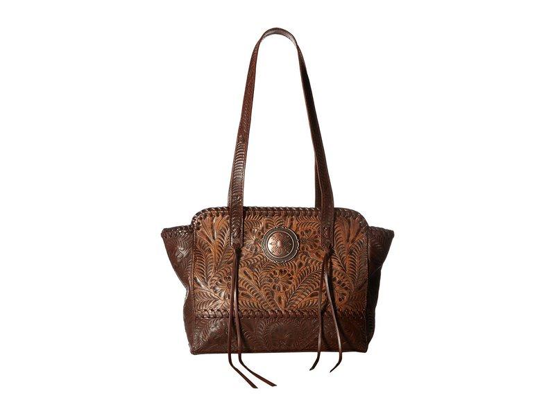アメリカンウェスト レディース ハンドバッグ バッグ Annie's Secret Zip Top Tote w/ Secret Compartment Distressed Charcoal Brown/Chestnut Brown