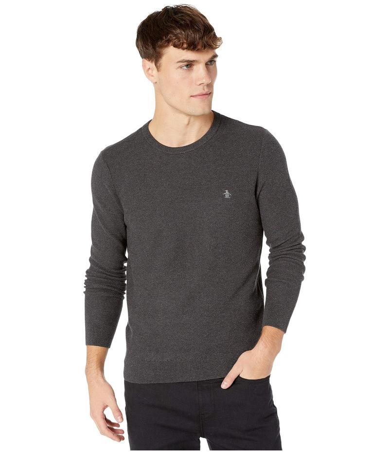 オリジナルペンギン メンズ ニット・セーター アウター Tuck Stitch Long Sleeve Sweater Dark Charcoal H