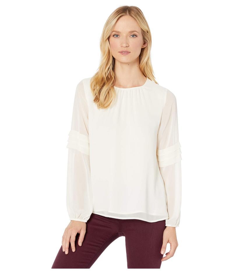 ヴィンスカムート レディース シャツ トップス Long Sleeve Chiffon Blouse w/ Pleated Sleeve Detail Pearl Ivory