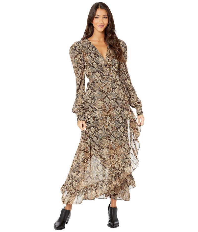 ワイフ レディース ワンピース トップス Freeport Long Sleeve Wrap Midi Dress Brown Python