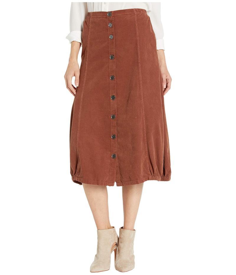 エックスシーブイアイ レディース スカート ボトムス Wearables Exposed Buttons Skirt in Wale Cord Sumac Pigment