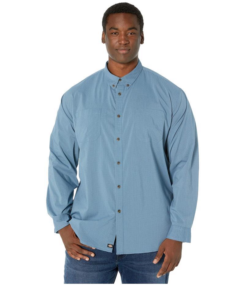 ディッキーズ メンズ シャツ トップス Big & Tall Long Sleeve Flex Plaid Woven Shirt Dark Denim/Dust