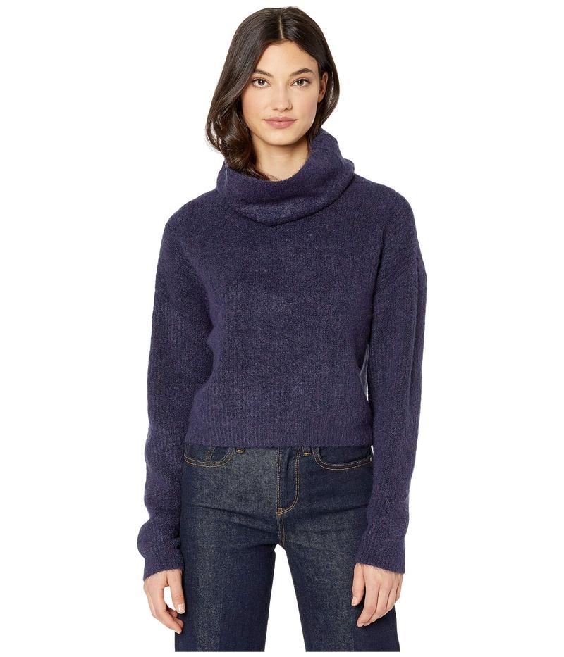 カップケーキアンドカシミア レディース ニット・セーター アウター Joanna Cowl Neck Cropped Rib Stitch Sweater Royal Purple