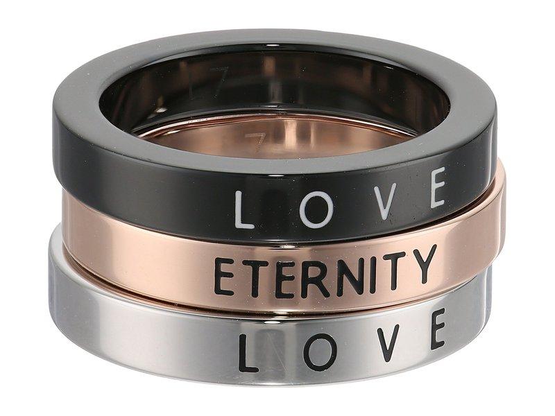 カルバンクライン レディース リング アクセサリー Hook - Love & Eternity Set Of 3 Rings Silver/Rose Gold/Black