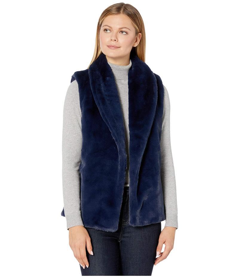 エコーデザイン レディース コート アウター Faux Fur Collar Vest Echo Navy