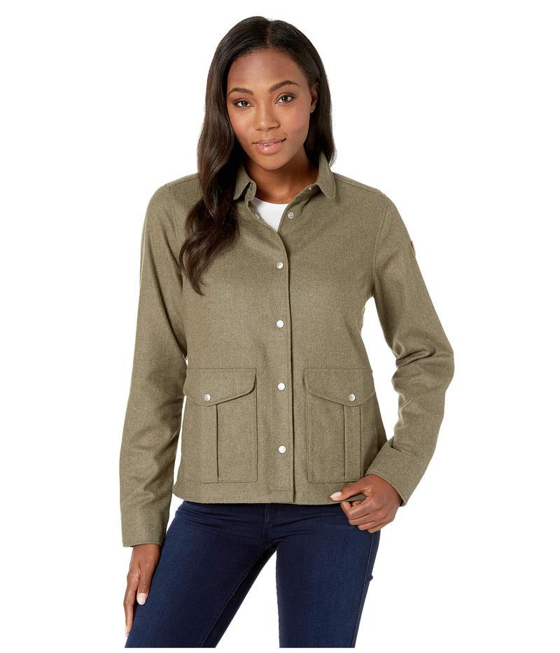 フェールラーベン レディース コート アウター Greenland Re-wool Shirt Jacket Laurel Green