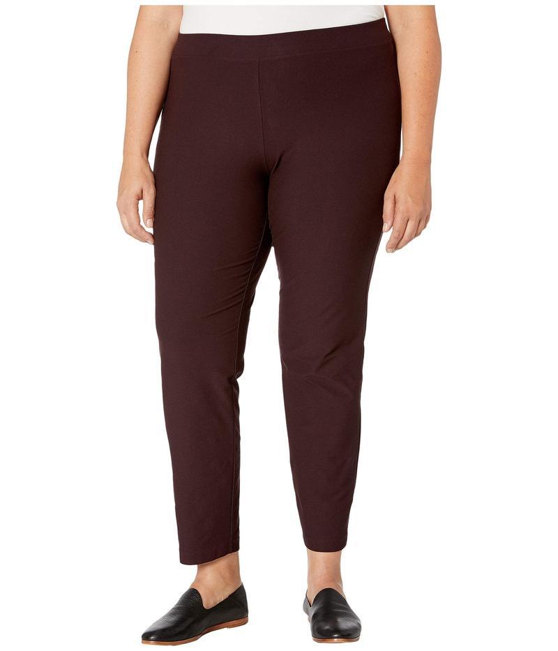 エイリーンフィッシャー レディース カジュアルパンツ ボトムス Plus Size Washable Stretch Crepe Slim Ankle Pants w/ Yoke Cassis