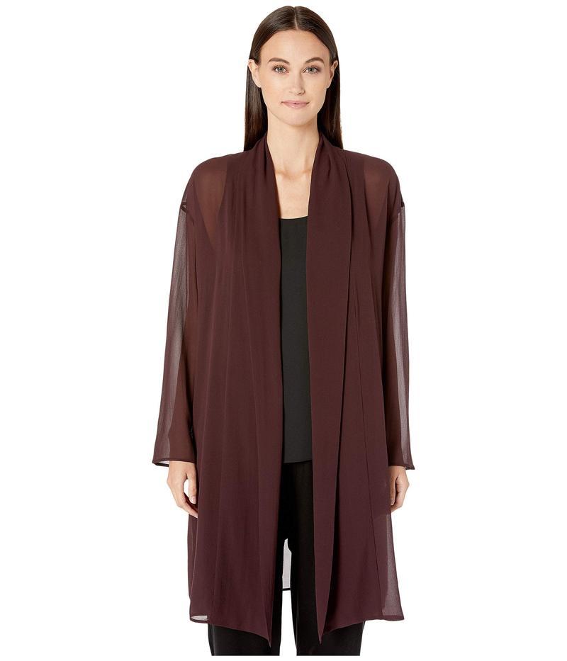 エイリーンフィッシャー レディース シャツ トップス Sheer Silk Georgette Kimono Knee Length Jacket Cassis