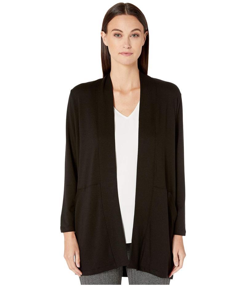 エイリーンフィッシャー レディース シャツ トップス Tencel Stretch Terry Kimono Sleeve Jacket Black