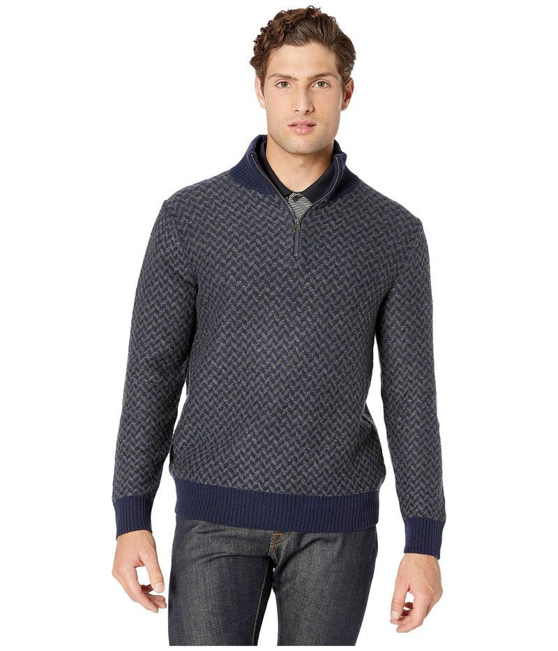 ジェイクルー メンズ ニット・セーター アウター Merino Wool Herringbone Jacquard Half-Zip Sweater Herringbone Nav