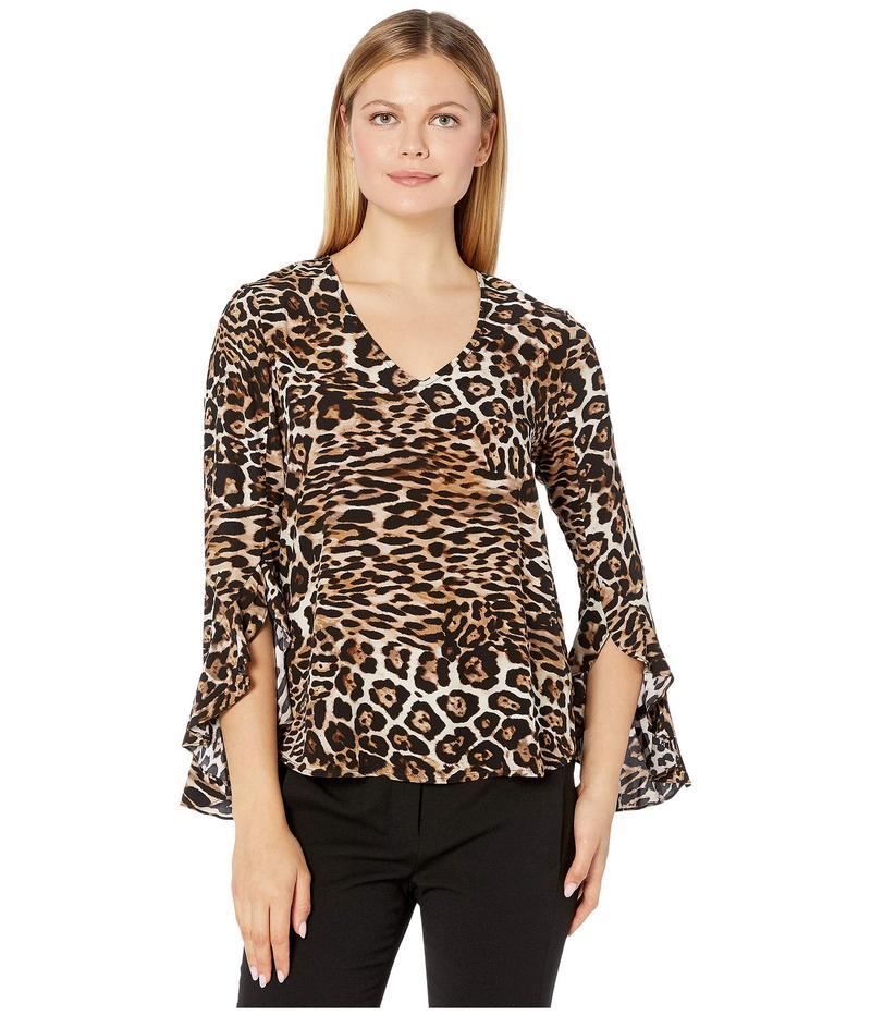 カレンケーン レディース シャツ トップス Ruffle Sleeve Top Leopard