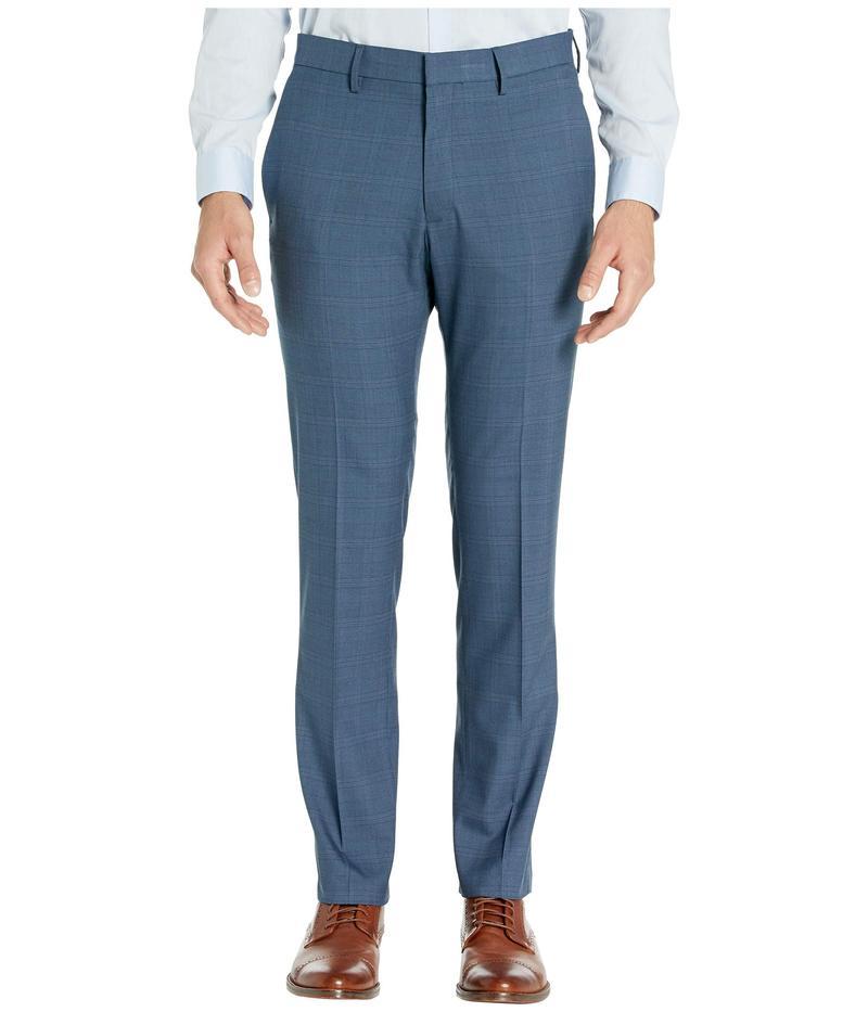 ケネスコール メンズ カジュアルパンツ ボトムス Stretch Sharkskin Plaid Slim Fit Flat Front Dress Pants Blue