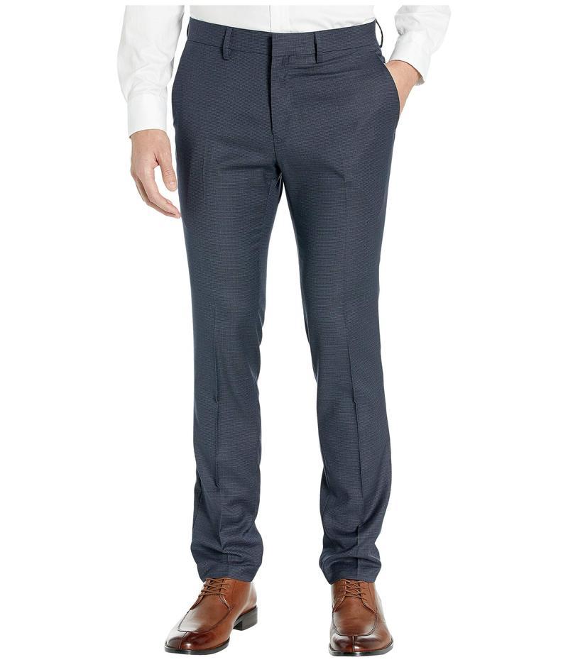 ケネスコール メンズ カジュアルパンツ ボトムス Stretch Micro Check Houndstooth Skinny Fit Flat Front Dress Pants Indigo
