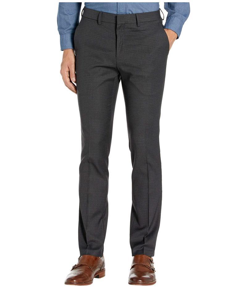 ケネスコール メンズ カジュアルパンツ ボトムス Stretch Micro Check Houndstooth Skinny Fit Flat Front Dress Pants Charcoal
