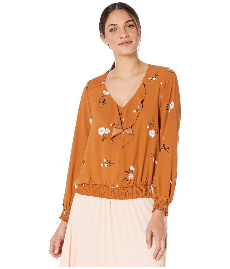 ケンジー レディース シャツ トップス Mid Century Floral Long Sleeve Top KSNK4834 Toffee Combo