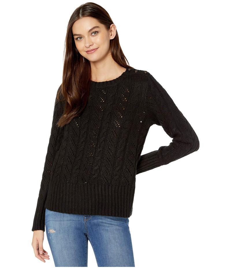 ケンジー レディース ニット・セーター アウター Punk Yarn Sweater with Shoulder Button Detail KSNK5942 Black