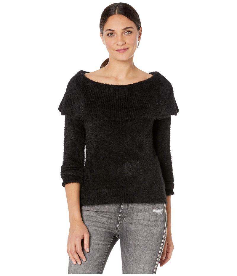 ケンジー レディース ニット・セーター アウター Faux Fur Yarn Cowl Neck Sweater KSNK5991 Black
