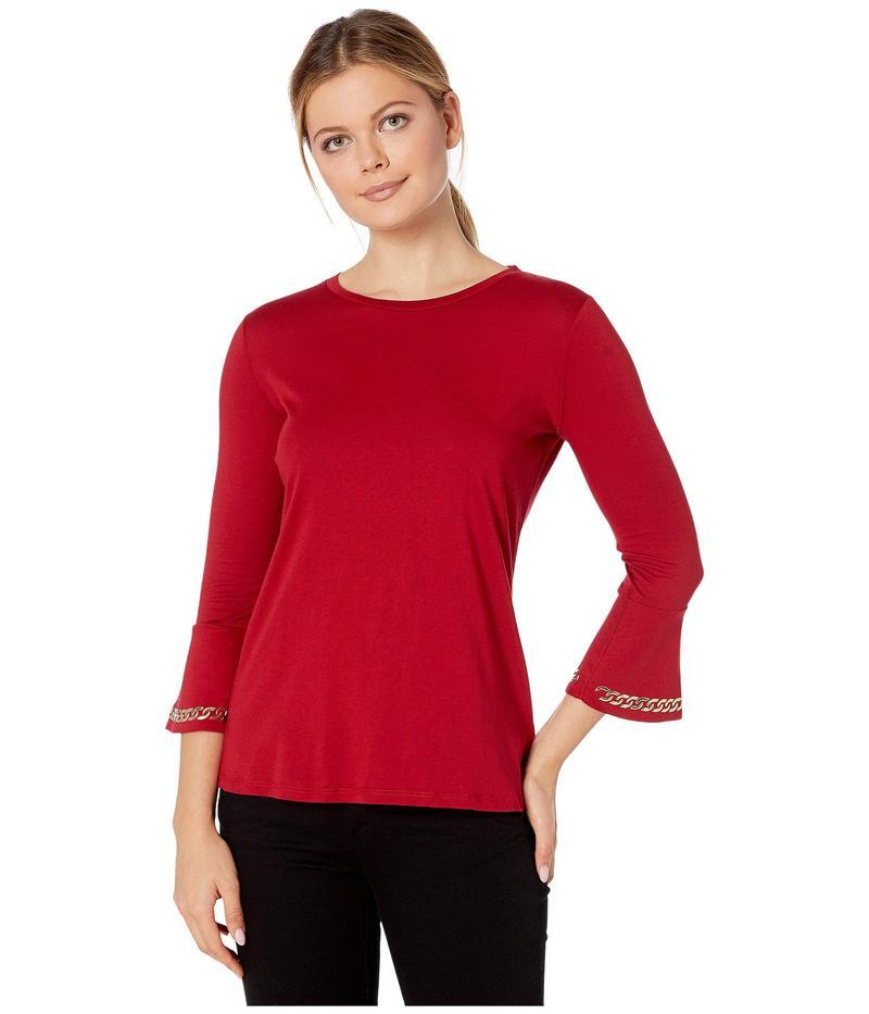 マイケルコース レディース シャツ トップス Embroidered Chain 3/4 Sleeve Top Red Currant