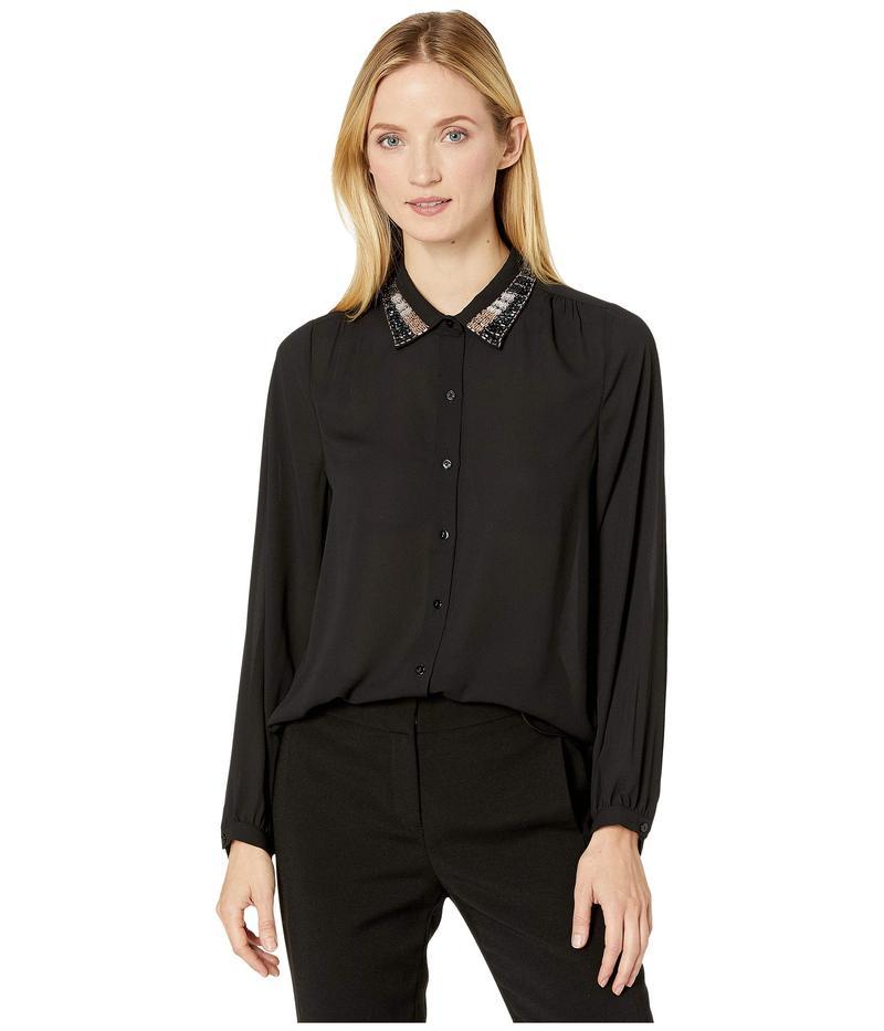 エヌワイディージェイ レディース シャツ トップス Embellished Modern Blouse Black