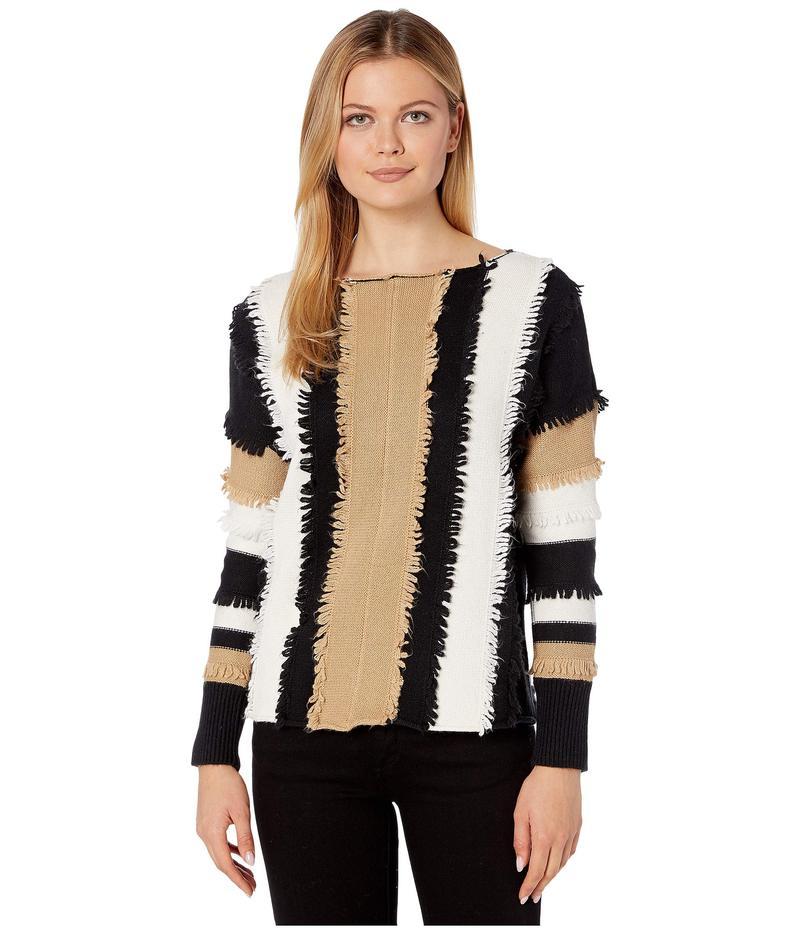 トゥーバイビンスカムート レディース ニット・セーター アウター Long Sleeve Color Block Loopstitch Stripe Boat Neck Sweater Latte