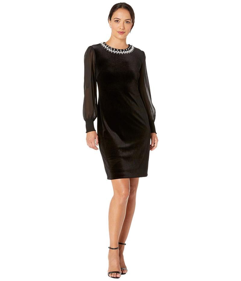 タハリ レディース ワンピース トップス Petite Illusion Sleeve Velvet Cocktail Dress with Pearl Necklace Embellishment Detail Black