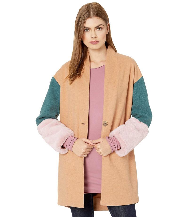 ブランクニューヨーク レディース コート アウター Color Block Cocoon Coat with Faux Fur Cuffs in Out Of Office Multicolor
