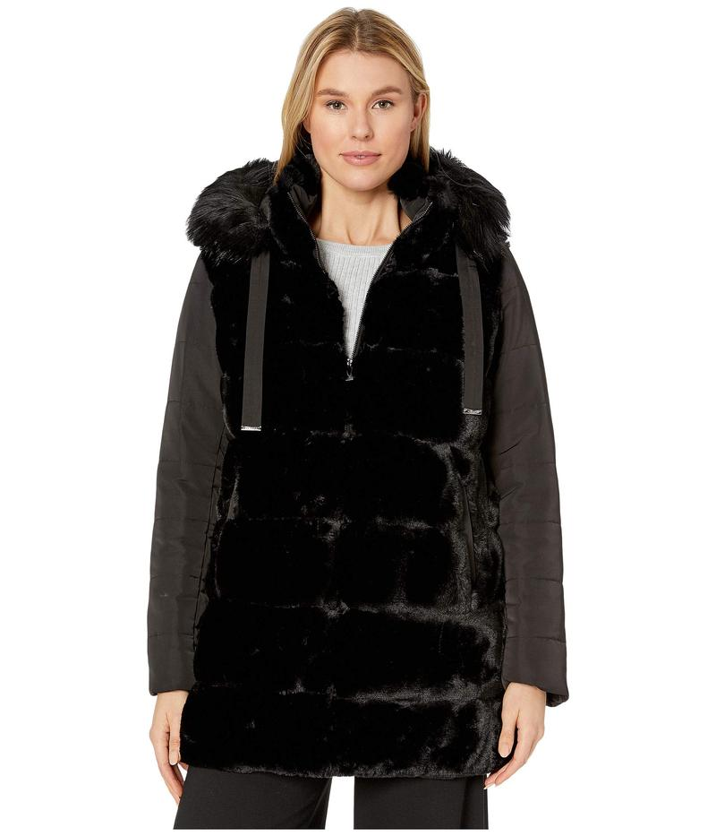 ヴィアスピガ レディース コート アウター Mixed Media Wide Grooved Faux Fur w/ Detachable Hood Black