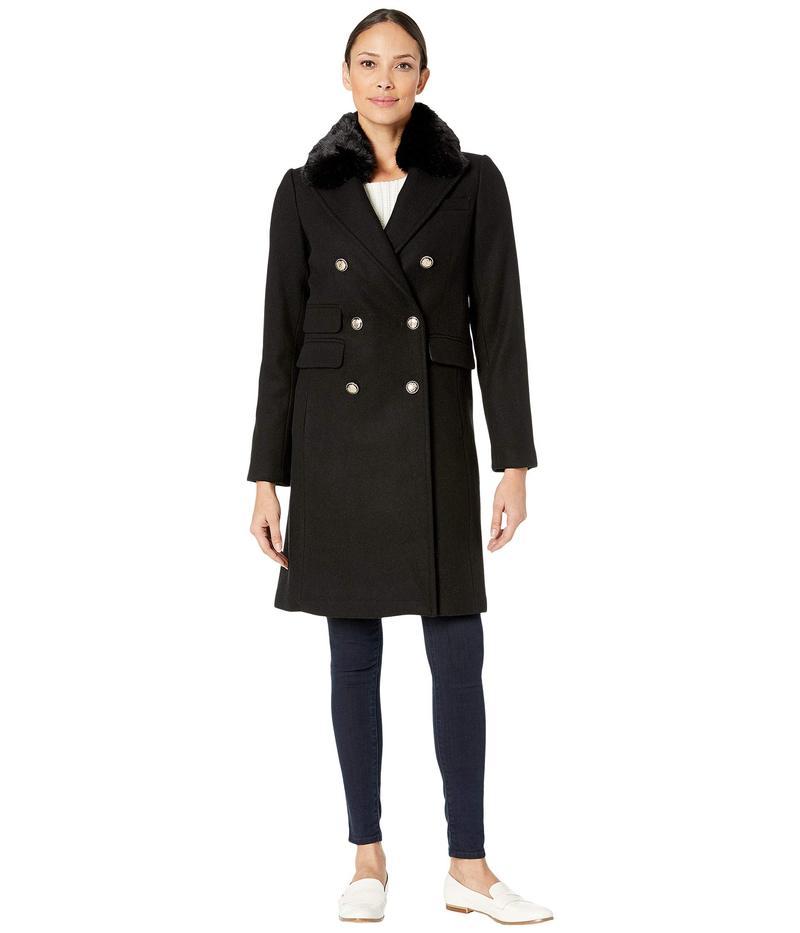 ヴィンスカムート レディース コート アウター Military Faux Fur Collar Wool Coat V29765 Black