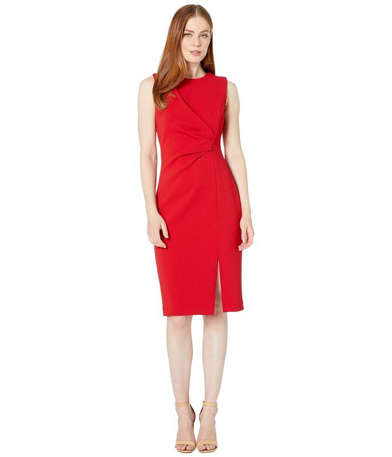 カルバンクライン レディース ワンピース トップス Ruched Dress with Side Slit Red