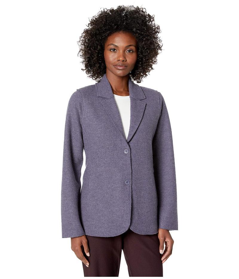 エイリーンフィッシャー レディース コート アウター Lightweight Boiled Wool Notch Collar Jacket Blue Shale