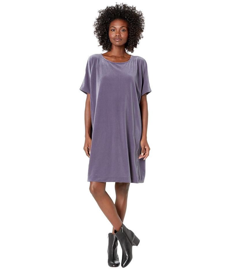 エイリーンフィッシャー レディース ワンピース トップス Recycled Polyester Stretch Velvet Round Neck Knee Length Dress Blue Shale
