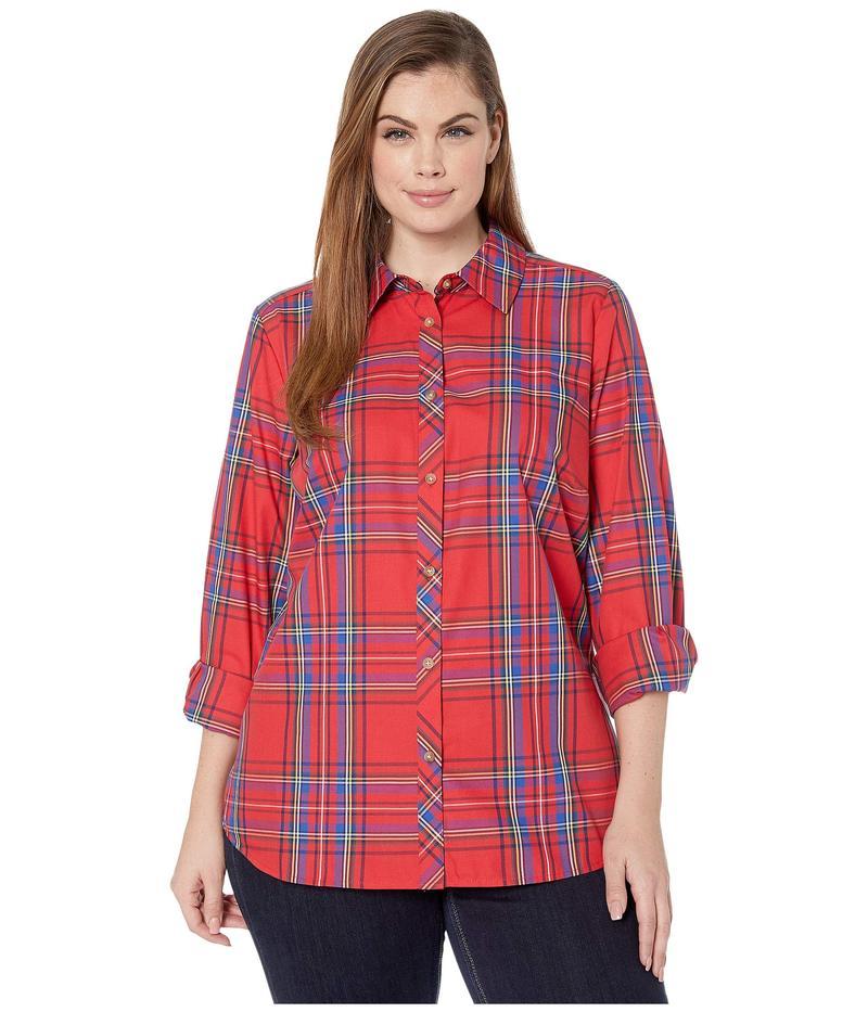 フォックスクラフト レディース シャツ トップス Plus Size Wrinkle Free Diane Emerson Tartan Shirt Christmas Red
