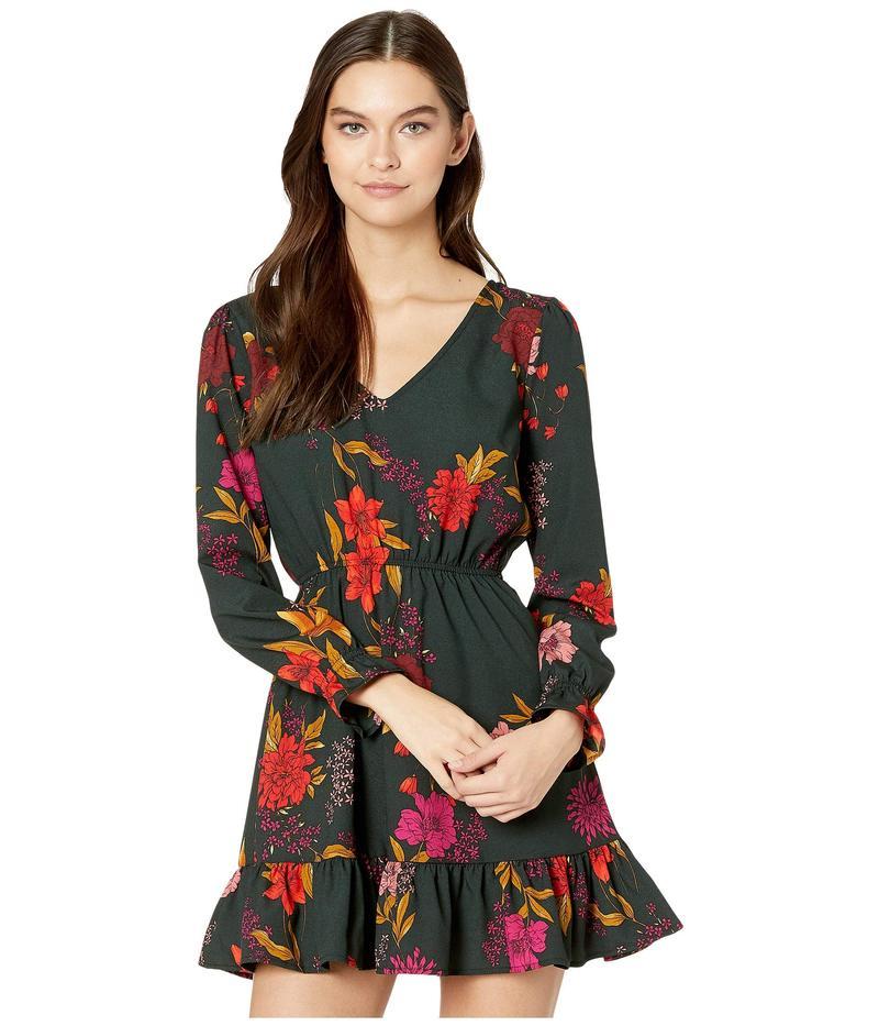 ジャック バイ ビービーダコタ レディース ワンピース トップス Let It V Breezy Blooms Printed CDC V-Neck Dress with Elastic Waist Winter Pine
