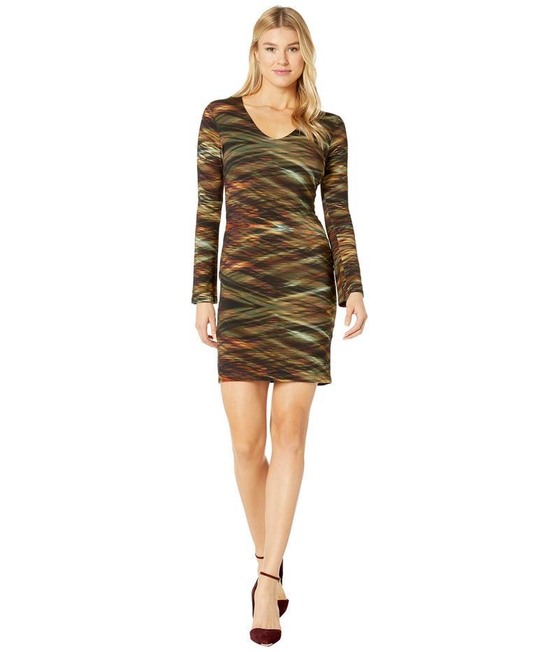 カレンケーン レディース ワンピース トップス V-Neck Sheath Dress Print