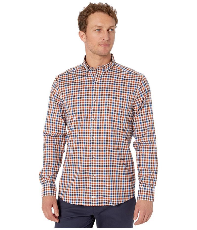 ジョンストンアンドマーフィー メンズ シャツ トップス Multi-Twill Gingham Shirt Rust Multi