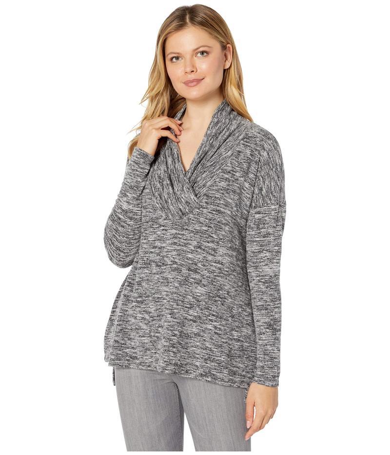 モッドドック レディース ニット・セーター アウター Space Dye Sweater Surplice Neck Drop Shoulder Tunic Black