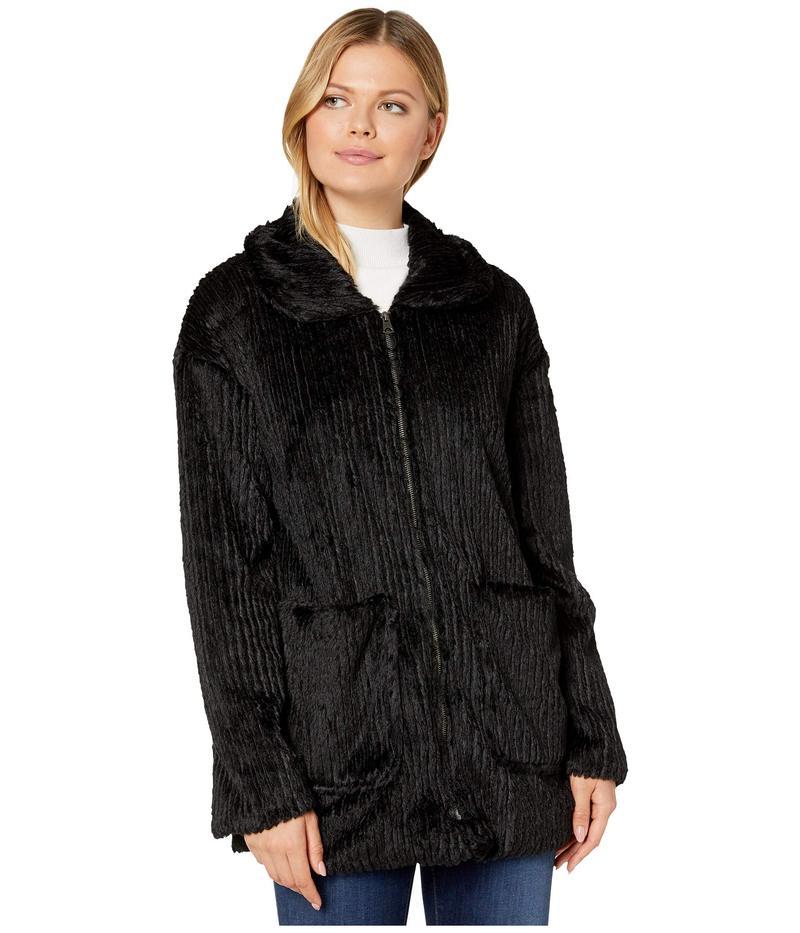 モッドドック レディース コート アウター Corded Faux Fur Zip Front Patch Pocket Jacket Black